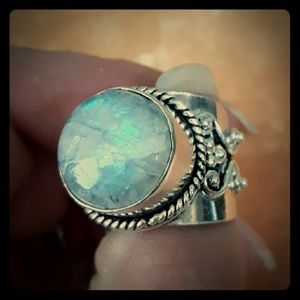Amazing Rainbow Moonstone Silver Statement Ring.